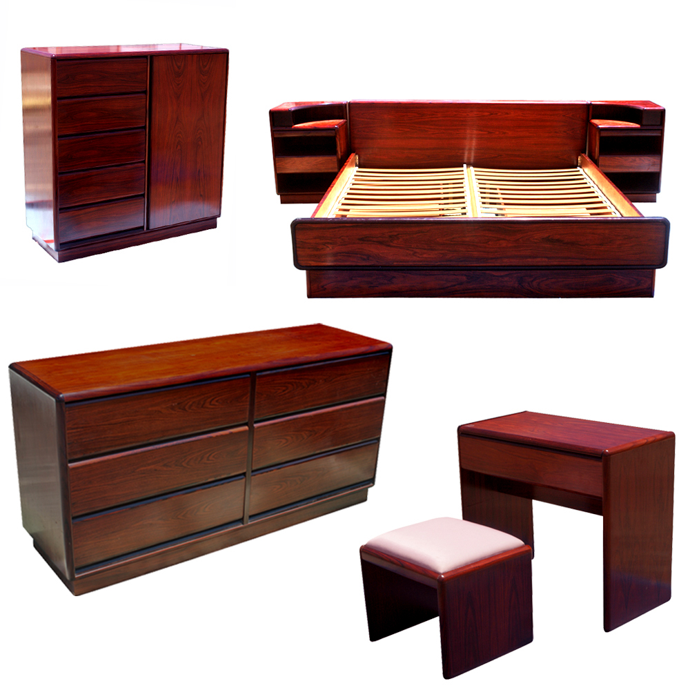 Rosewood Bedroom Furniture Midcentury Retro Style Modern Architectural Vintage Furniture From