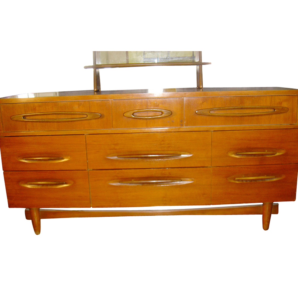 5ft vintage wood 9 drawer dresser with mirror ebay