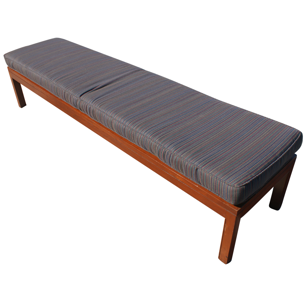 2 7ft Wood Bench With Striped Fabric Cushions