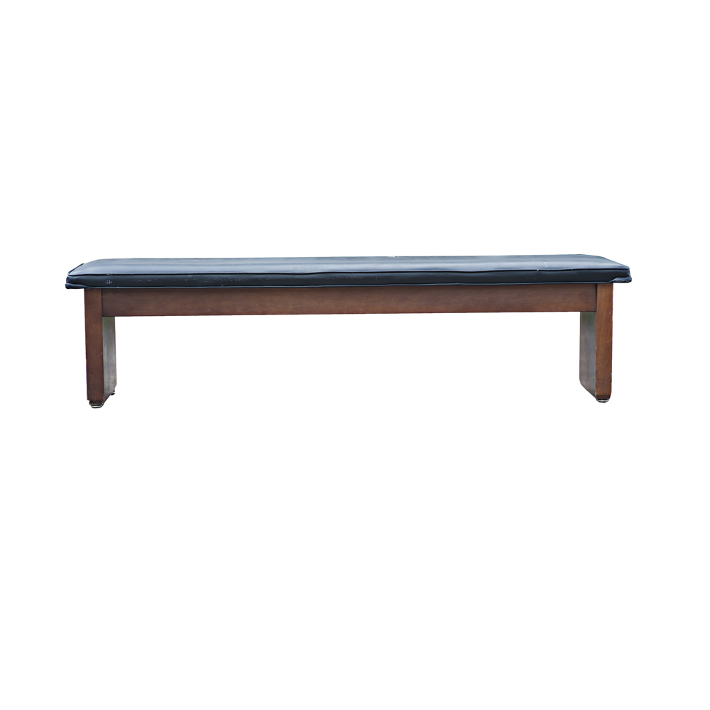 72 black padded wooden bench