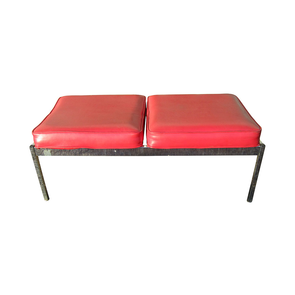 45 Vintage Red Vinyl Bench Knoll Style Ebay