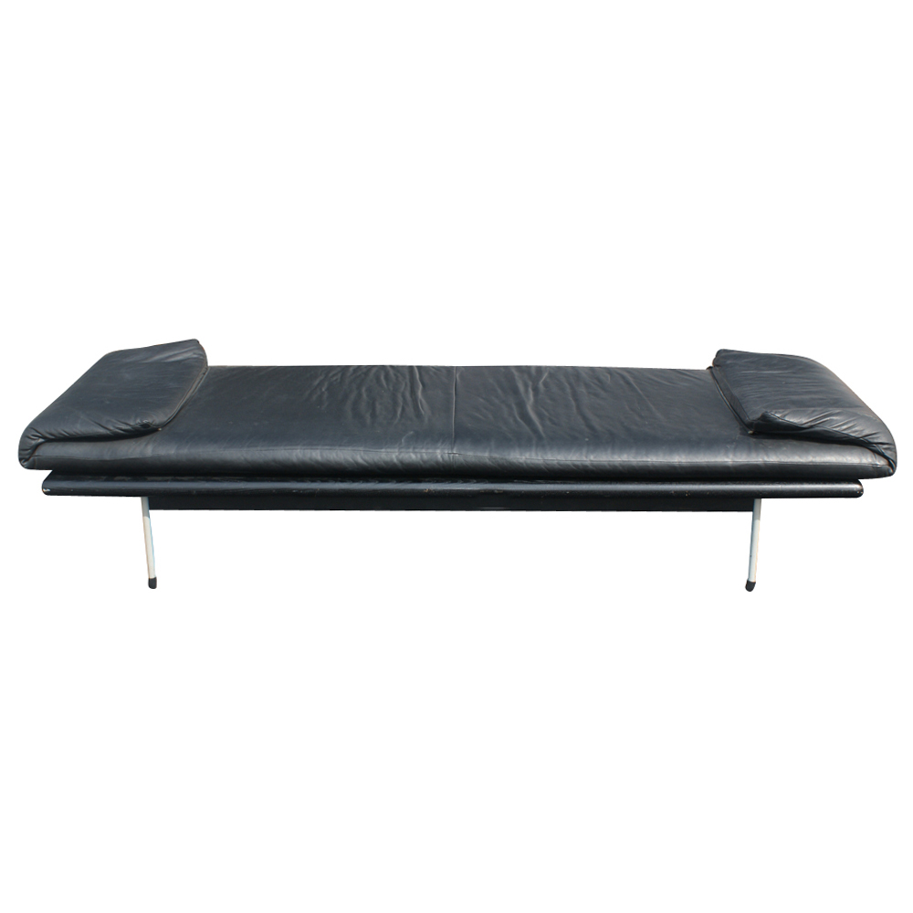Vintage brayton black leather daybed bench ebay Daybed bench
