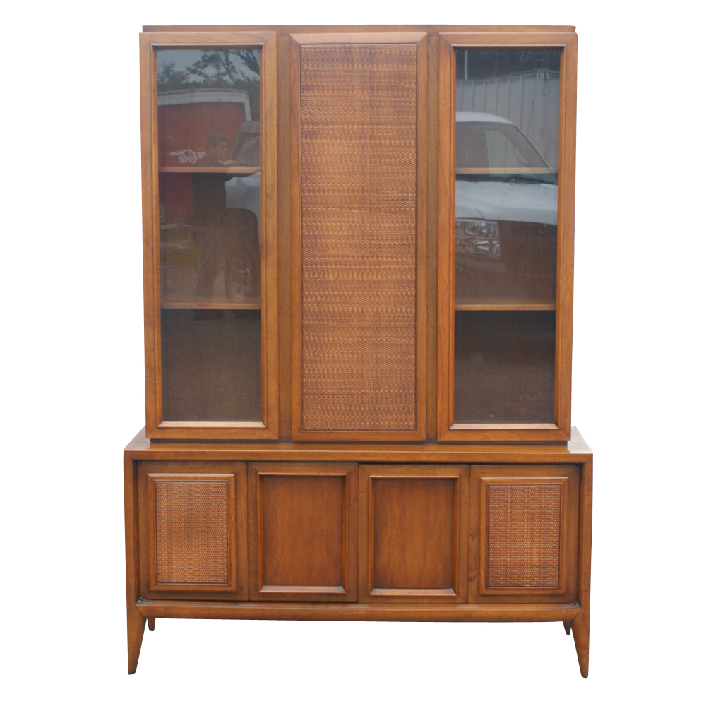 52 X 73 Vintage Wood Cane Glass Hutch China Cabinet