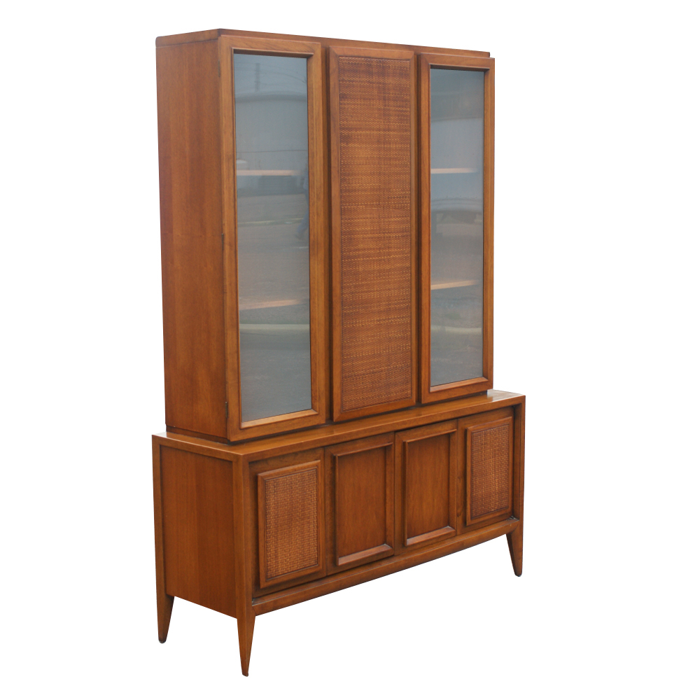 52 Quot X 73 Quot Vintage Wood Cane Glass Hutch China Cabinet