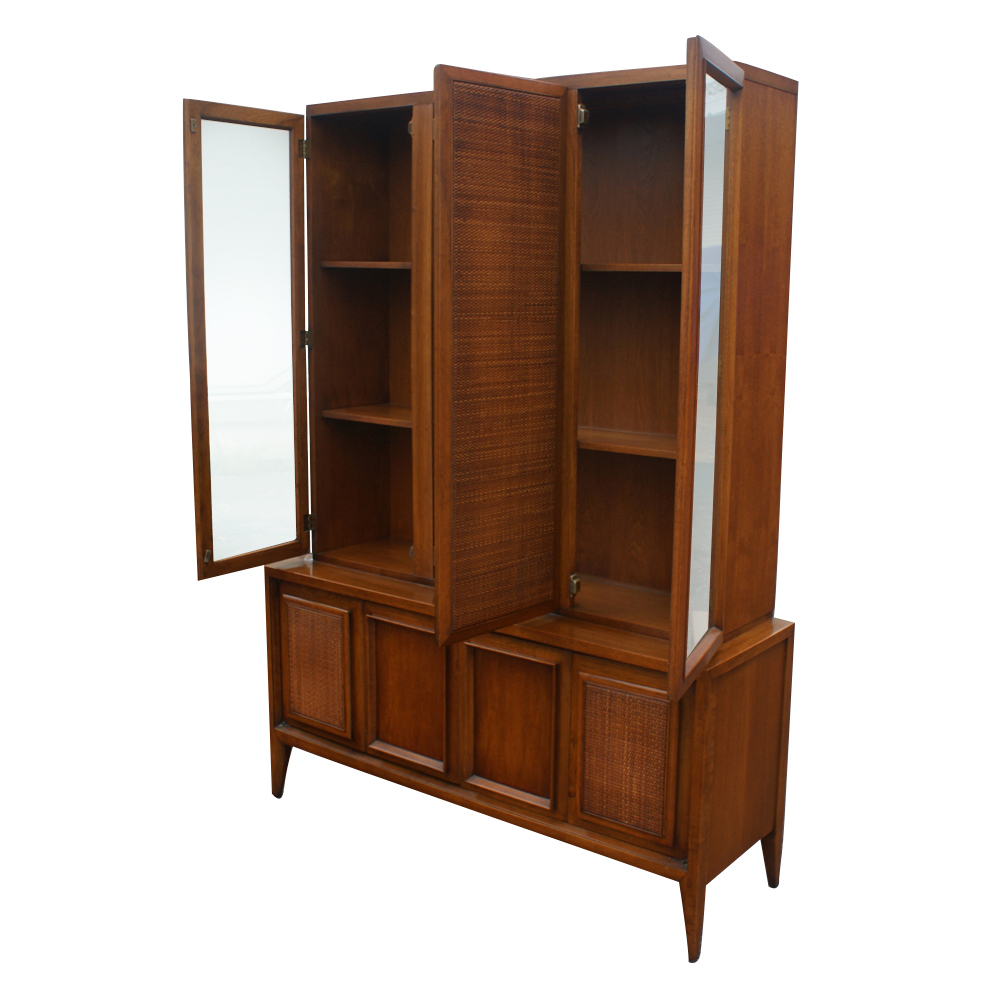 Quot vintage wood cane glass hutch china cabinet