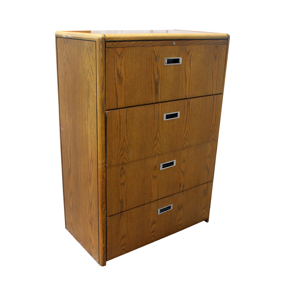 Vintage four drawer wood file cabinet ebay for Wood cabinets