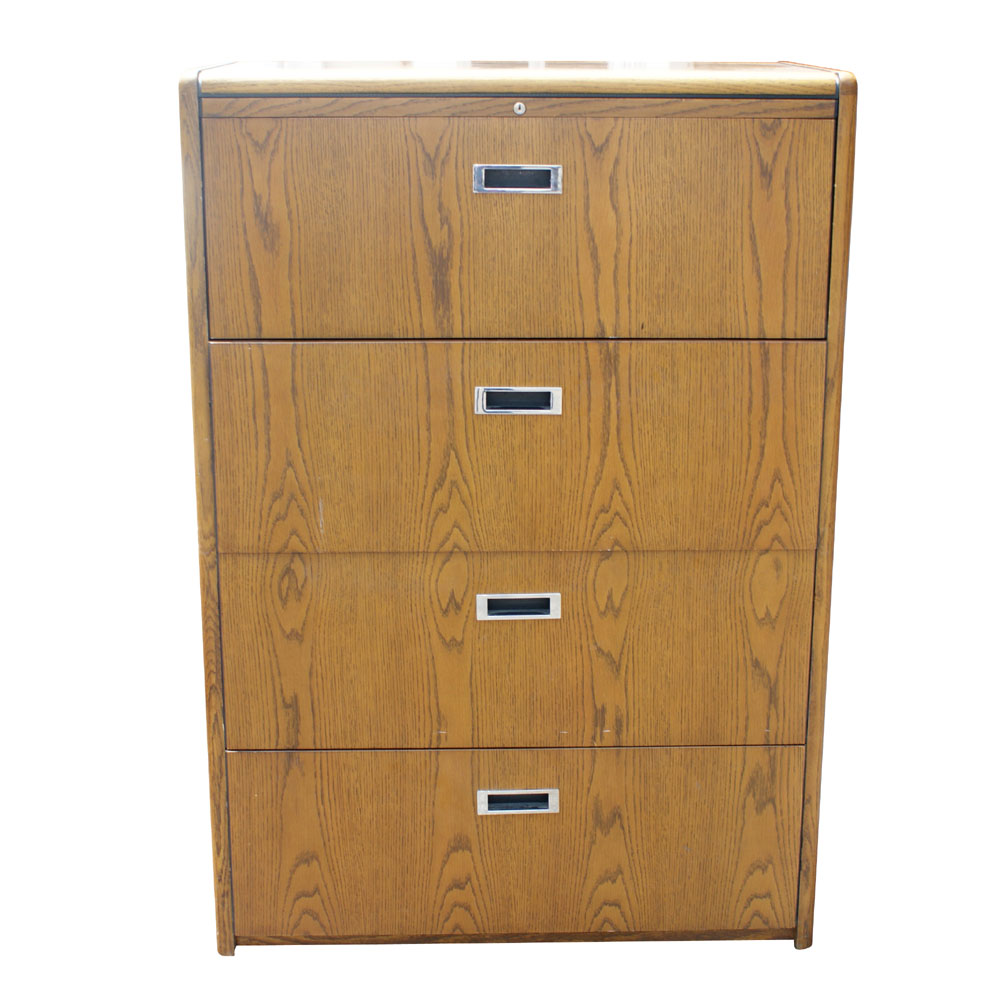 vintage four drawer wood file cabinet ebay. Black Bedroom Furniture Sets. Home Design Ideas