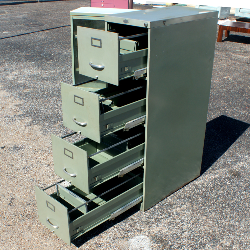 Perfect  Vintage Industrial Age Metal File Cabinet Green Metal Body With 4 File