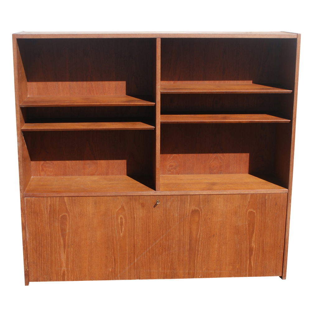 "54"" Danish SOBERG MOBLER Teak Bookcase Desk"