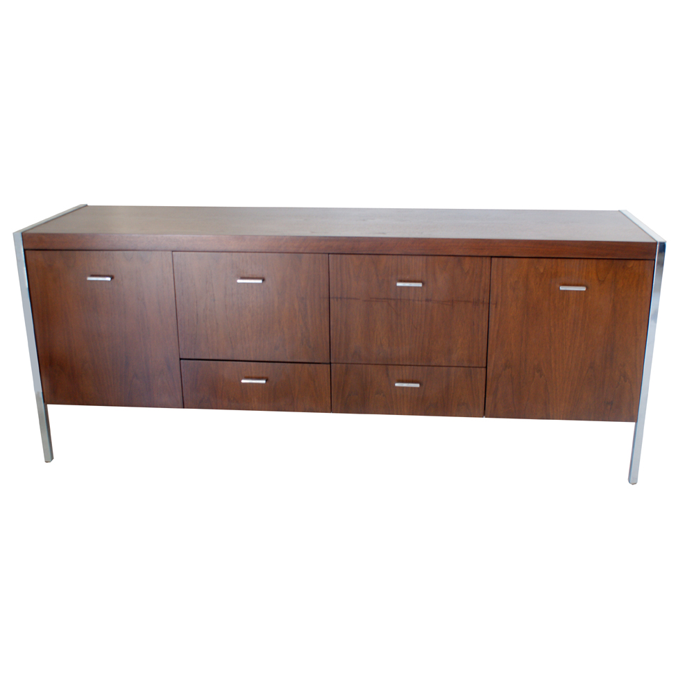 6ft Vintage Jasper Walnut Chrome Credenza Cabinet Ebay