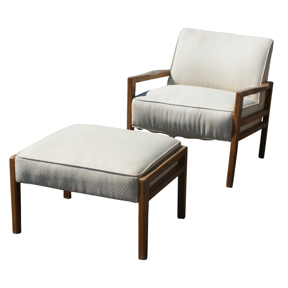 Vintage White Mid Century Lounge Chair and Ottoman