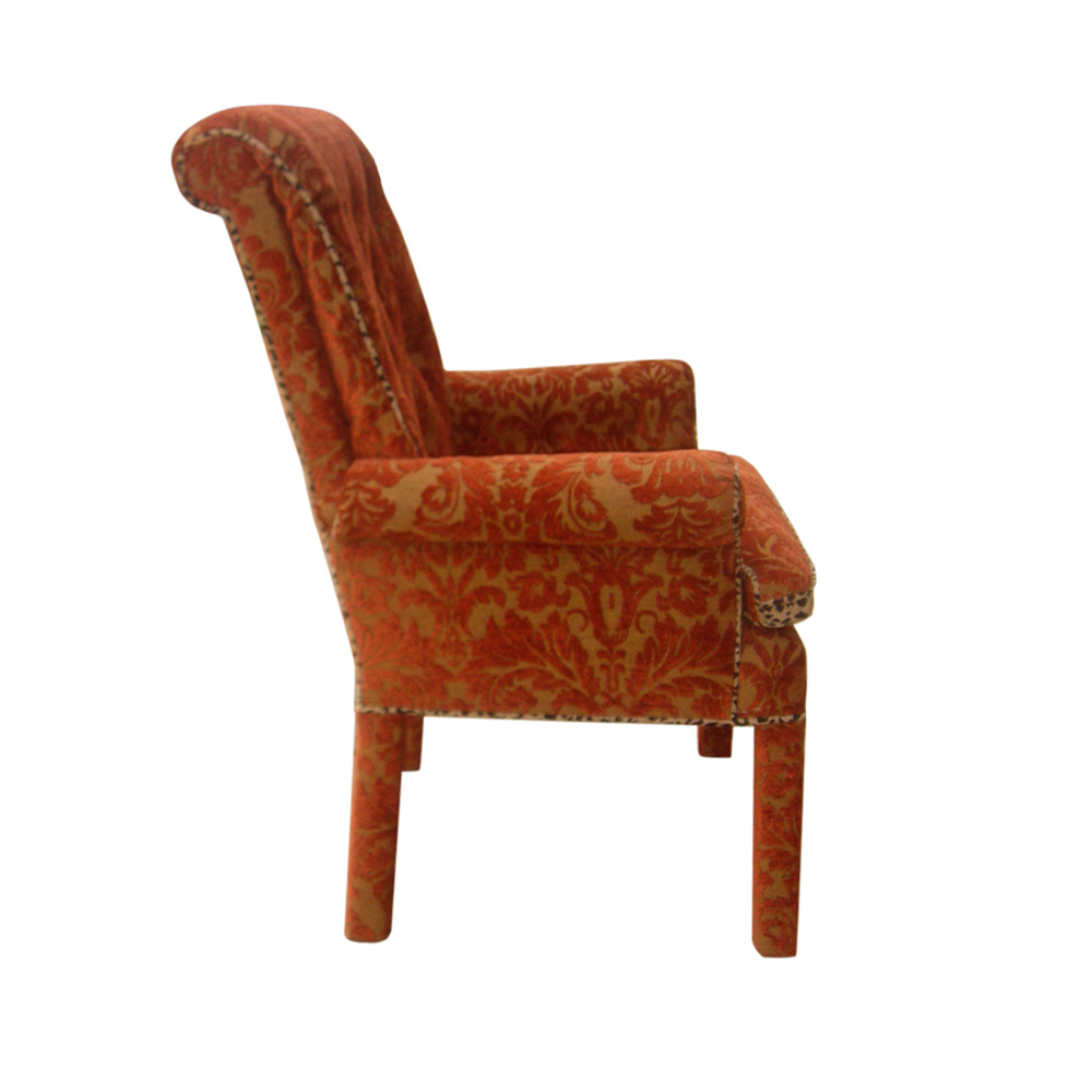 Vintage Traditional Lounge Armchair and Footstool Ottoman ...