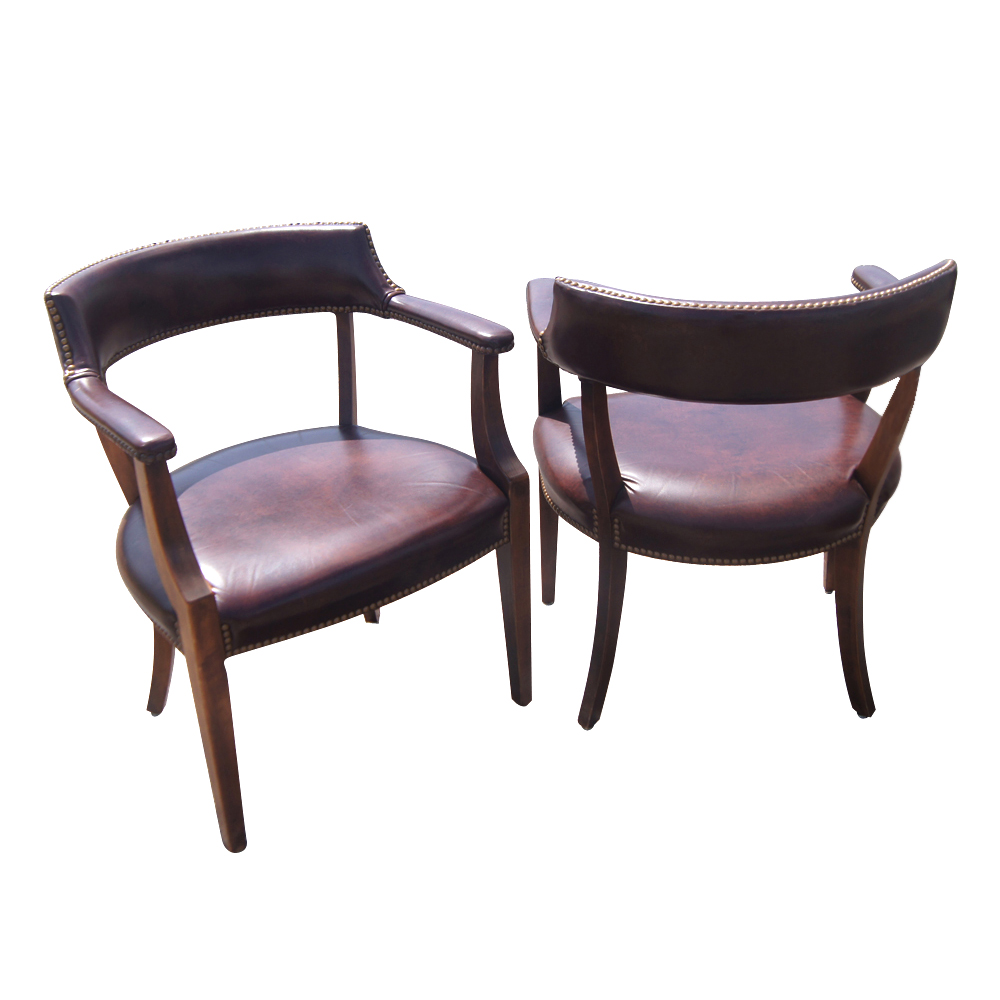 hickory chair 2 vintage hickory chair armchairs brown vinyl uphosltery ...