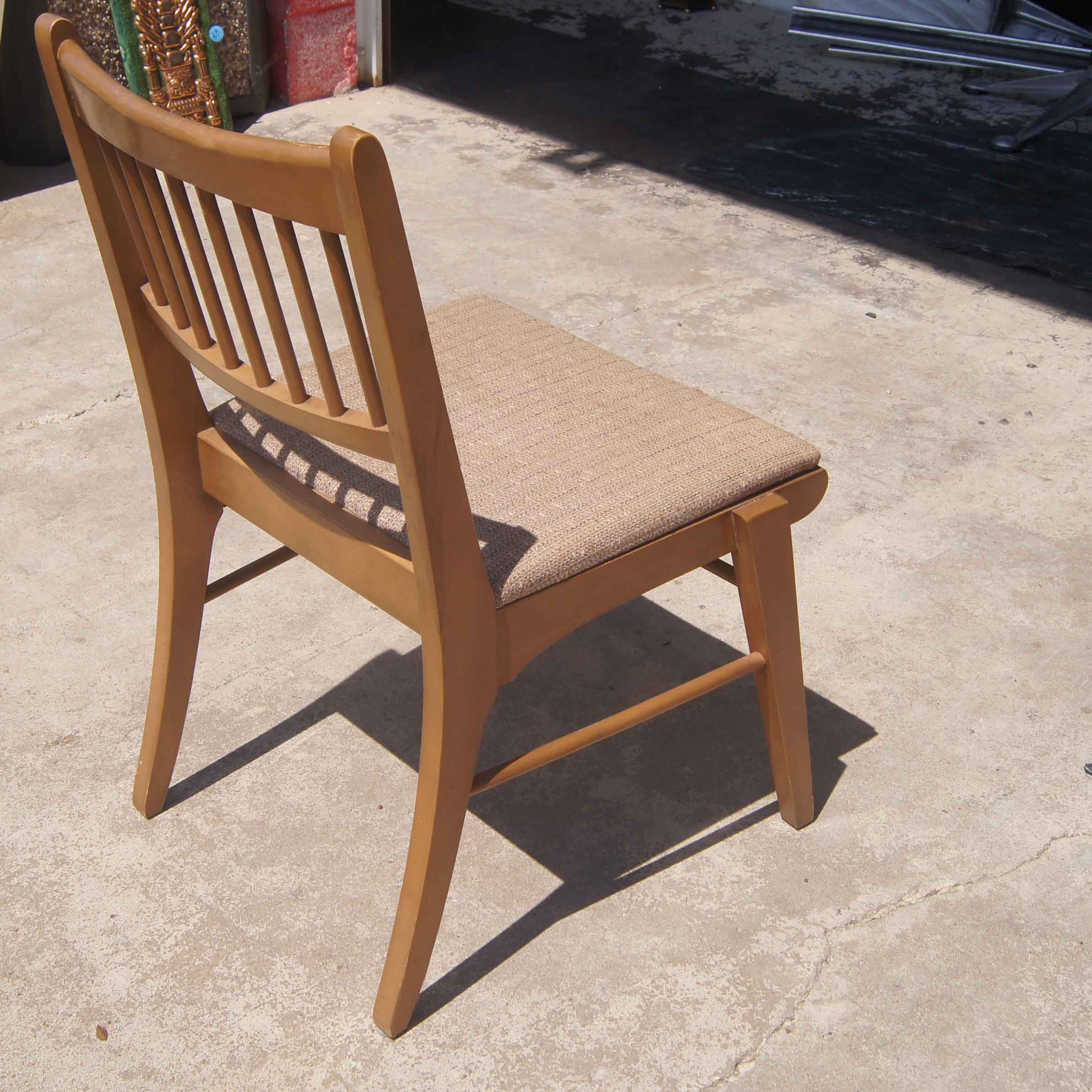 Vintage mid century modern wood side chair birch chair with slatted back
