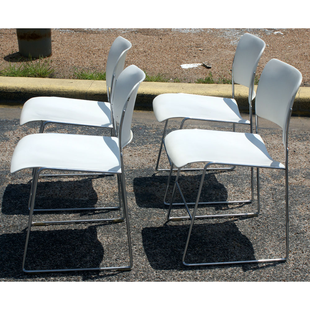 Set of 4 GF 40 4 Stacking Chairs by David Rowland