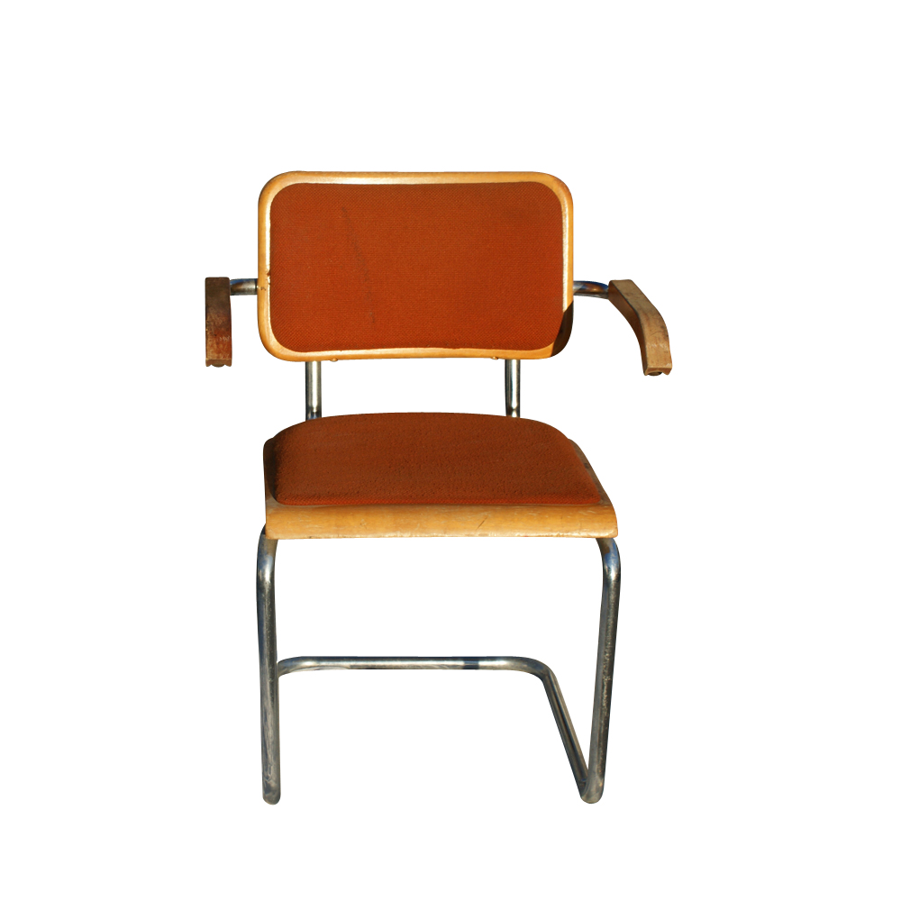 Vintage Virco Breuer Style Tubular Arm Chair
