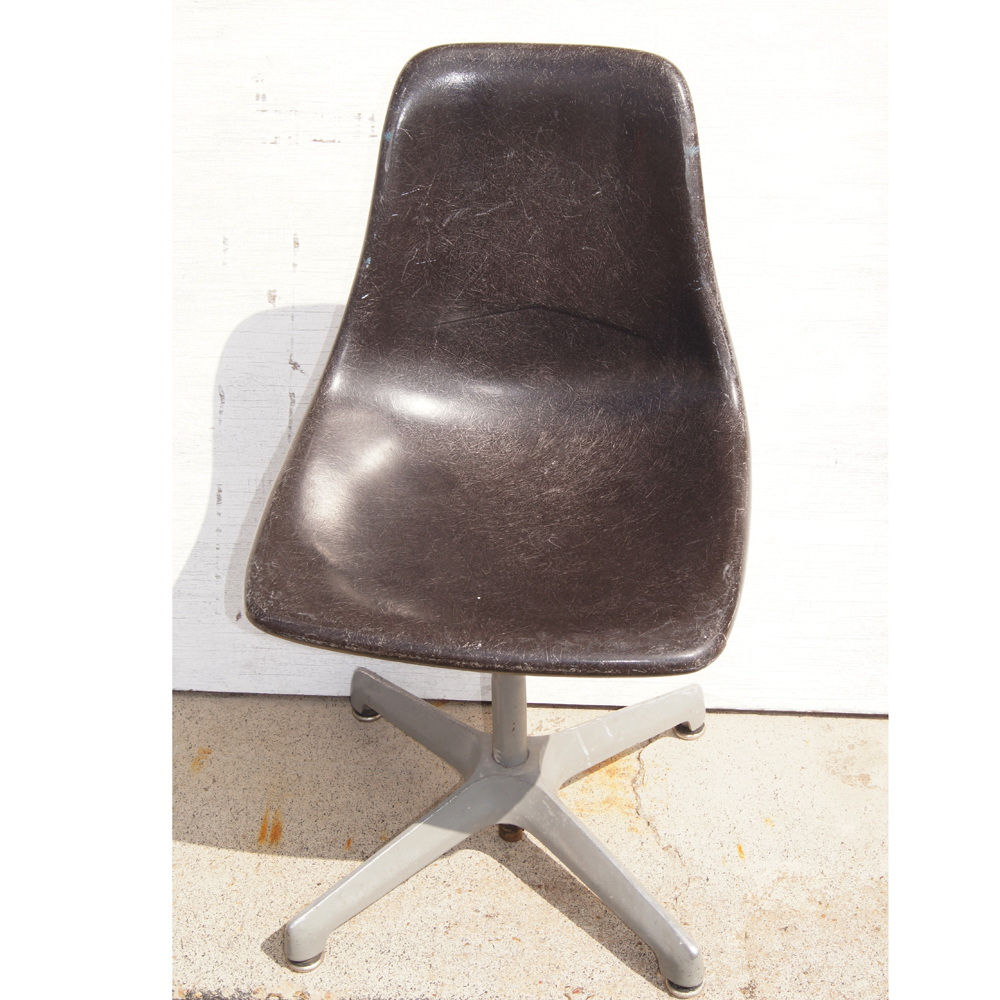 vintage dark gray fiberglass shell side chair swivel aluminum base eames style ebay. Black Bedroom Furniture Sets. Home Design Ideas