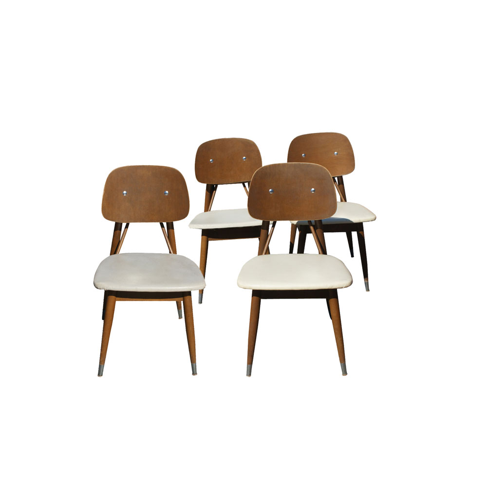 Vintage Mid Century Carrom Wood And Metal Chairs Ebay