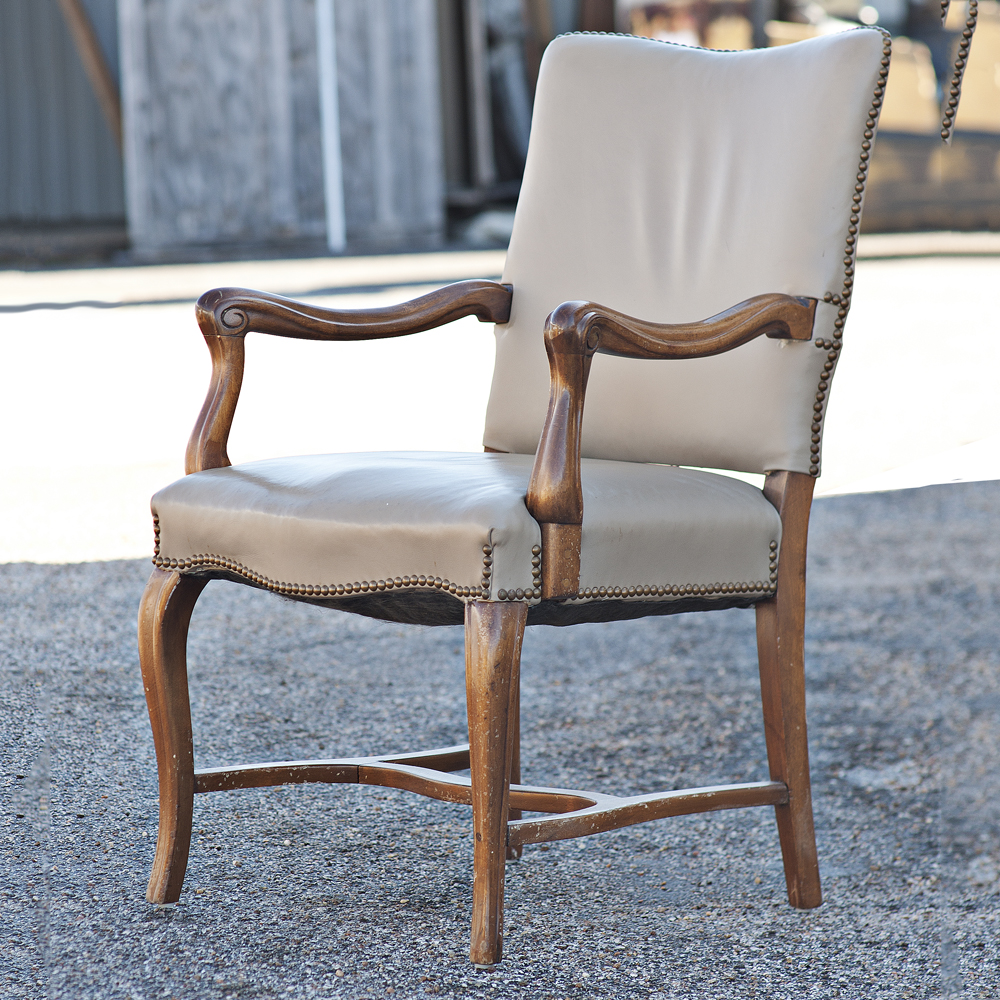 Mid Century Modern Dining: Mid Century Modern Traditional Tan Arm Dining Chair
