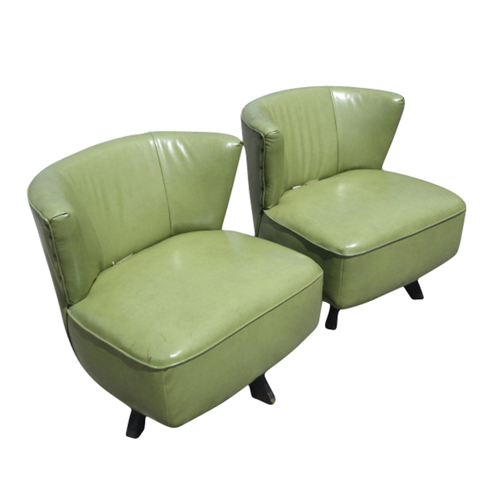 Mid Century Modern Furniture Chair: Mid Century Modern Green Swivel Slipper Chairs