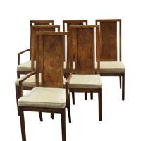 Set Of Six Vintage Burled Wood Highback Dining Chairs By Thomasville