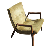 Vintage Yellow Velvet And Walnut Scoop Chair By Milo Baughman HOLD