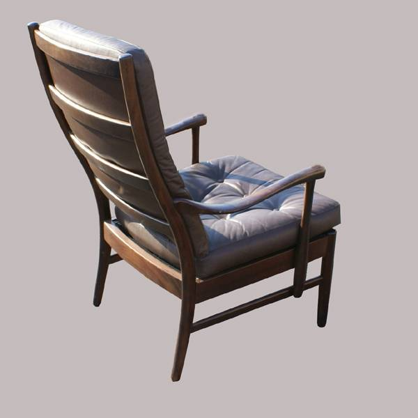 danish vintage brown leather wood lounge chair ebay. Black Bedroom Furniture Sets. Home Design Ideas