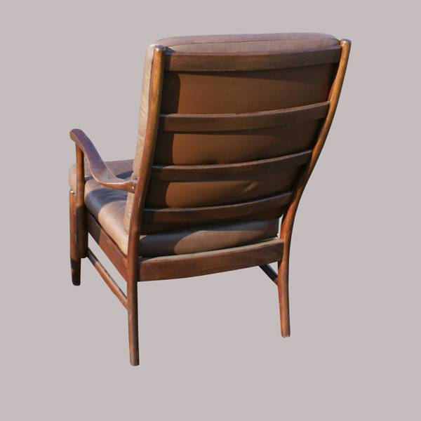 Danish Vintage Brown Leather Wood Lounge Chair