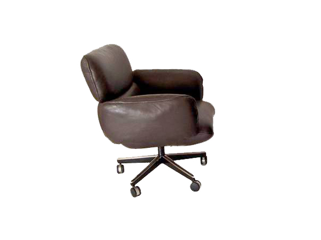 details about 1 zapf knoll brown leather low back side office chair