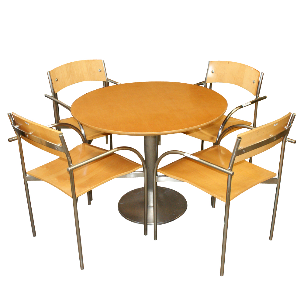 Vintage bernhardt chrome wood arm stacking chairs ebay