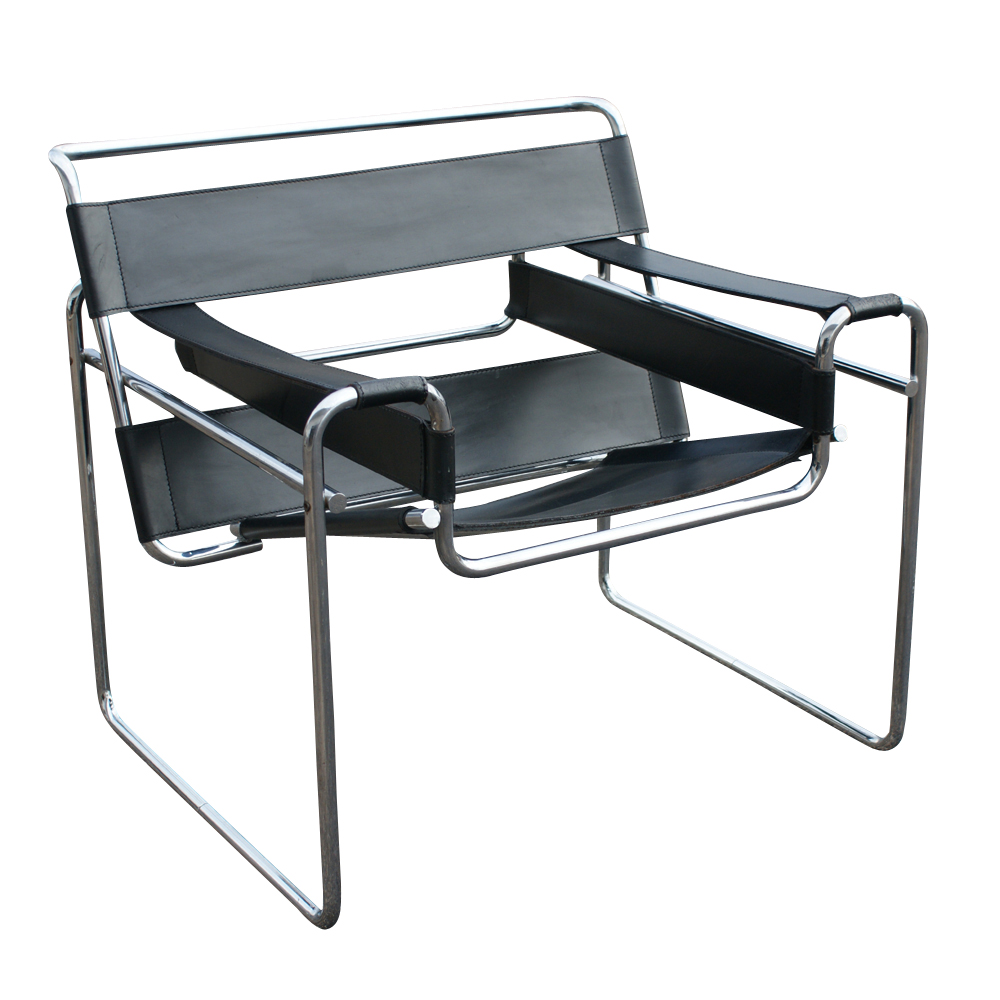 vintage knoll wassily marcel breuer black leather chair. Black Bedroom Furniture Sets. Home Design Ideas