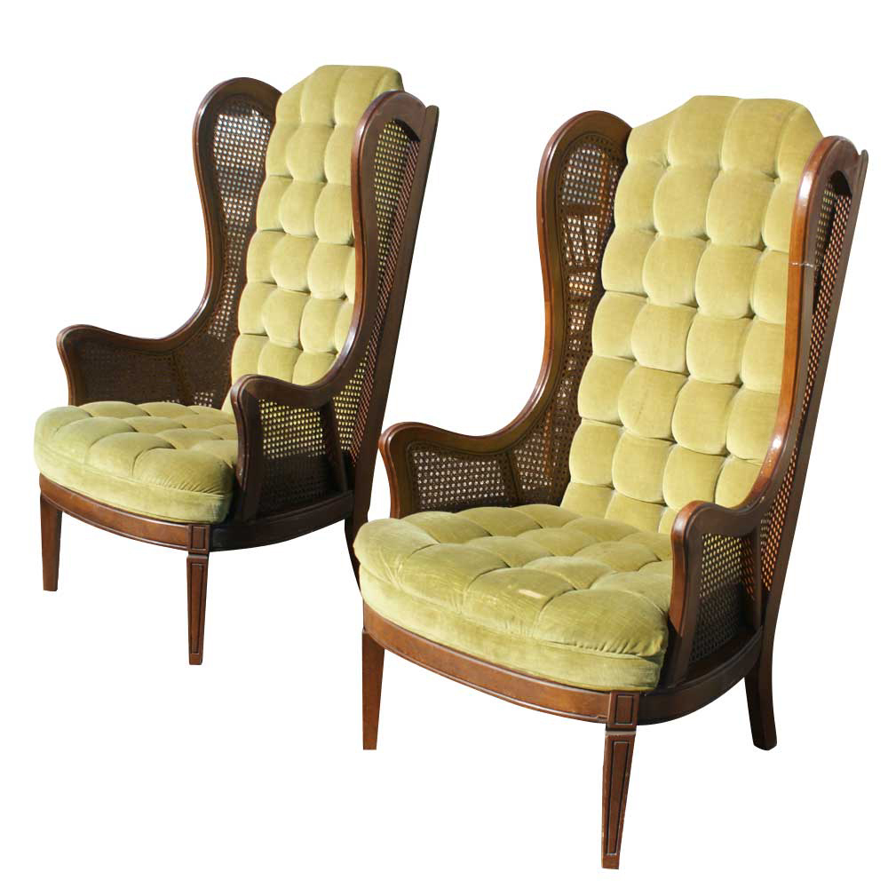 Pair vintage lewittes cane velvet wingback chairs ebay for Furniture for sale ebay