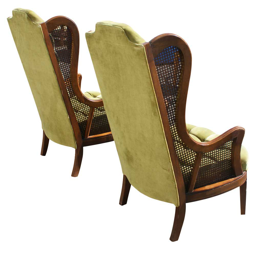 Merveilleux Vintage Cane Wing Chair Design Ideas