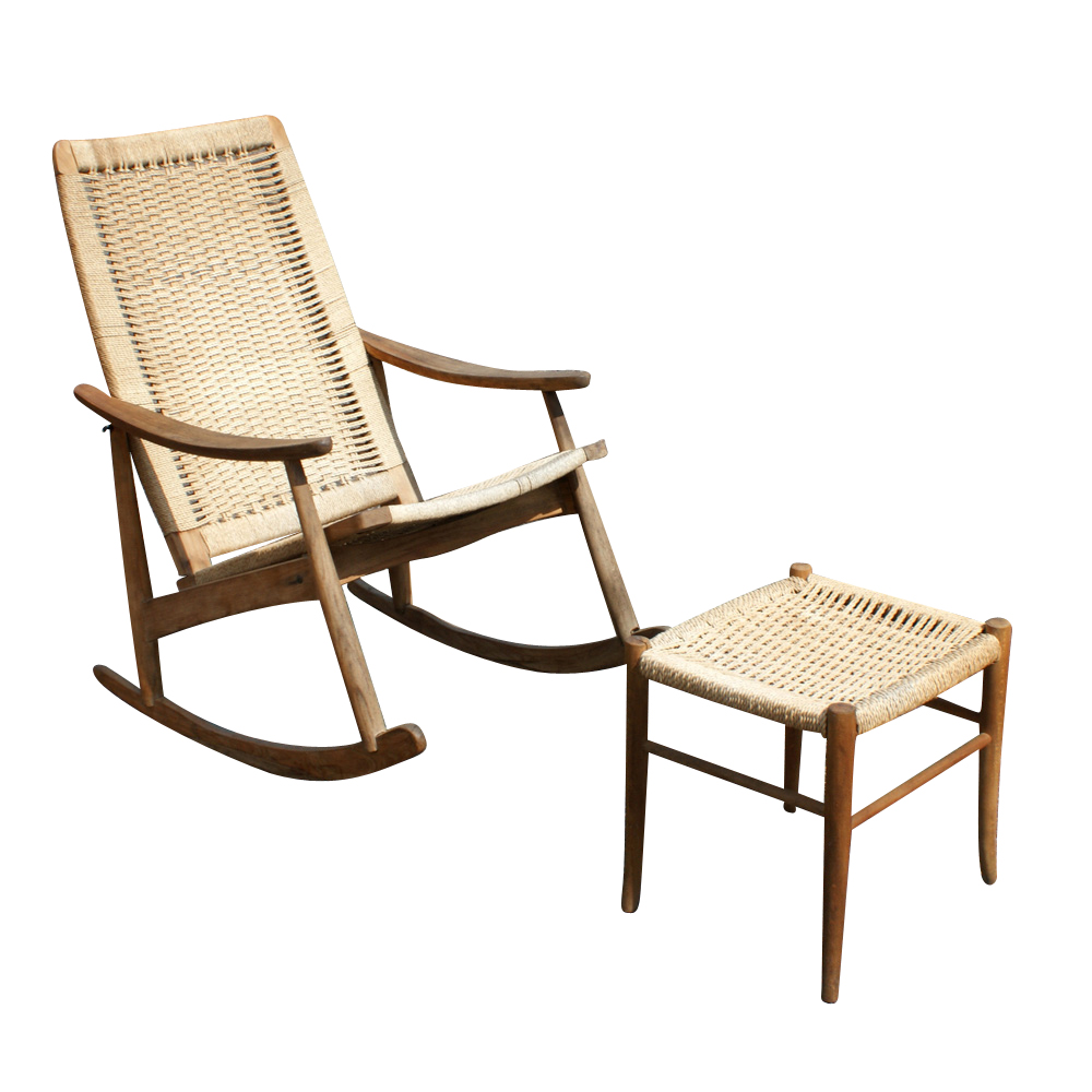 Chair and ottoman set teak with woven rush seats rocking chair 24 w x