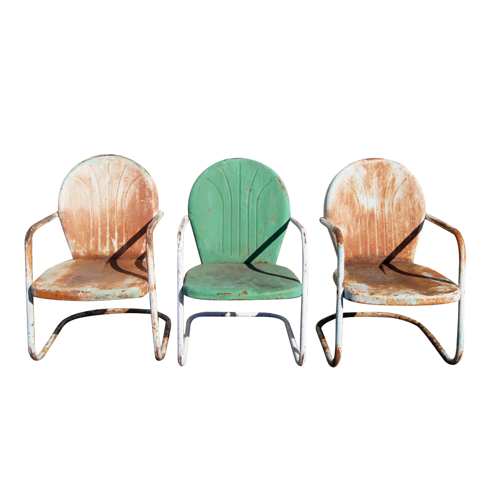 Vintage outdoor metal patio chairs