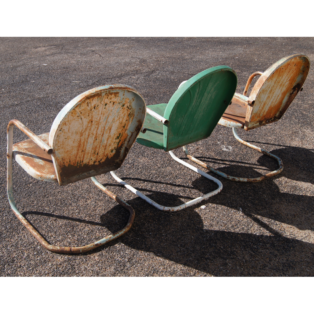 3 Vintage Metal Outdoor Patio Tulip Chairsprice Reduced Ebay: vintage metal garden furniture