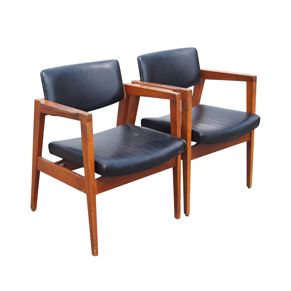 Mid Century Floating Back Danish Style Arm Chairs