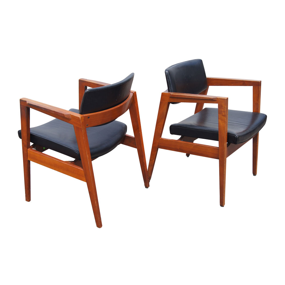 Mid Century Floating Back Danish Style Arm Chairs Ebay