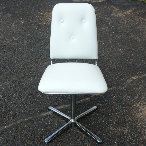 4 Mid Century Modern Chrome Side Dining Chairs