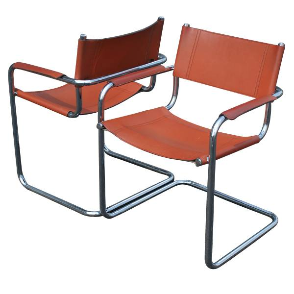 2 mid century modern mart stam leather arm chairs ebay. Black Bedroom Furniture Sets. Home Design Ideas