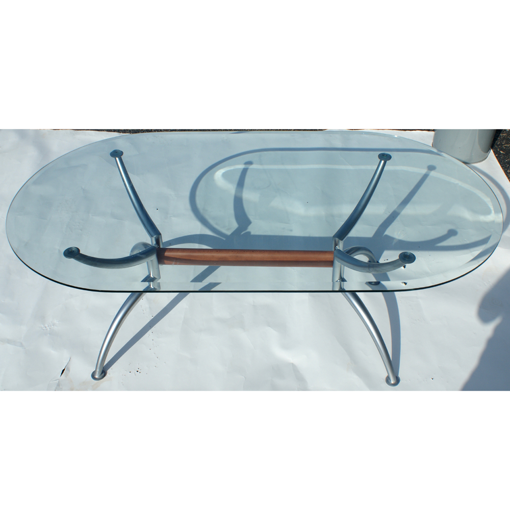 55 Scandinavian Oval Steel Glass Coffee Table Ebay