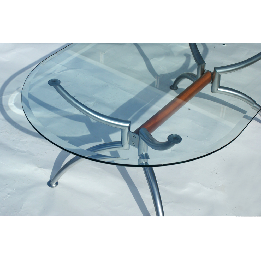55 Scandinavian Oval Steel Glass Coffee Table