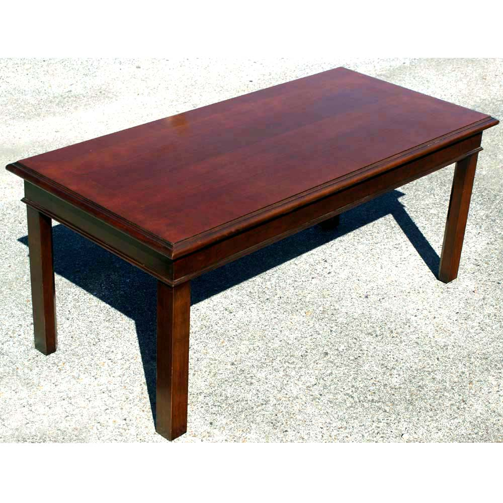 "42"" Mid Century Modern Hickory Wood Coffee Table"