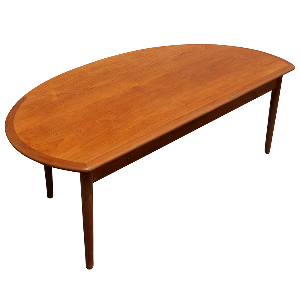 60 mid century modern vintage half moon coffee table ebay for Vintage coffee table