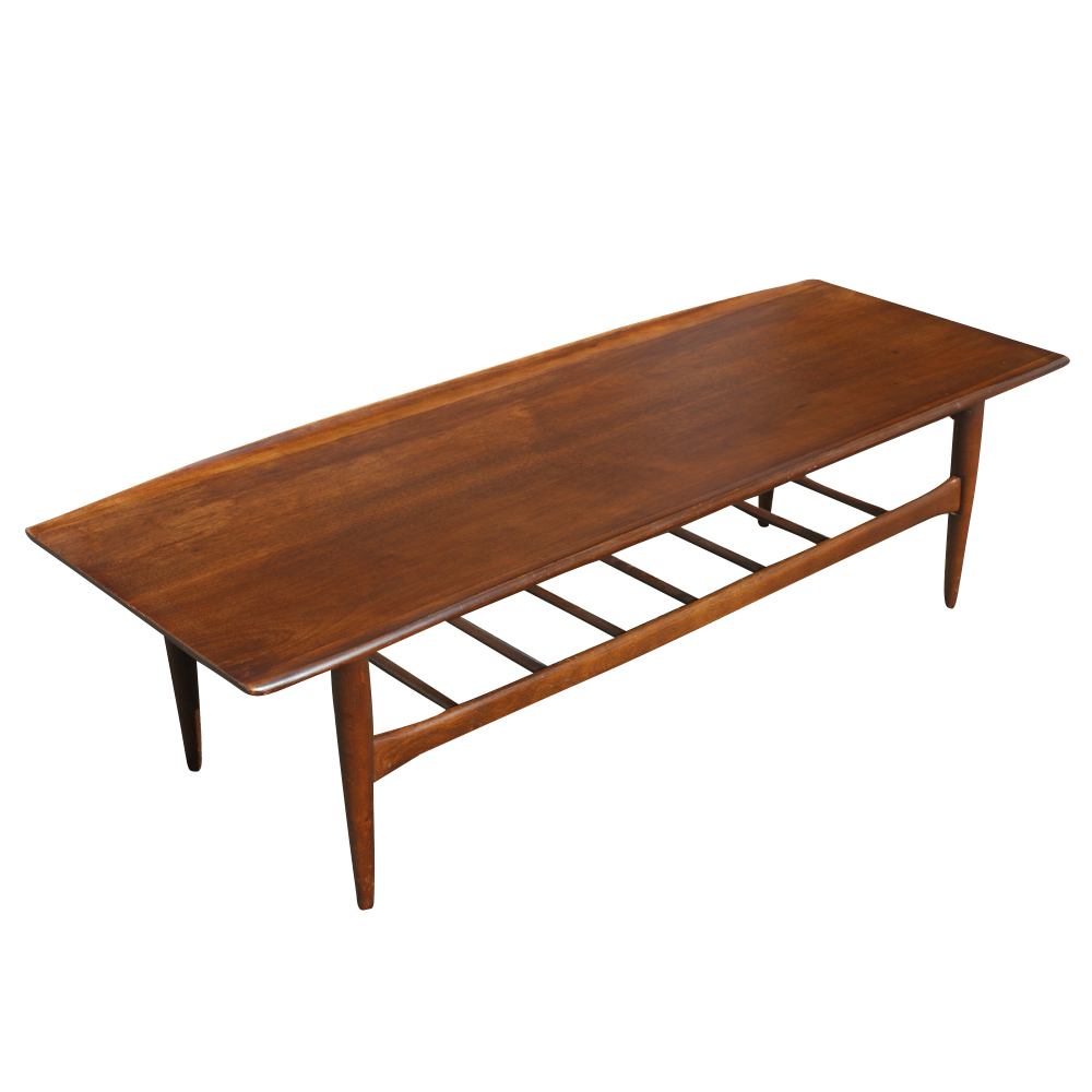 Details About 54 Vintage Walnut Two Tier Coffee Table