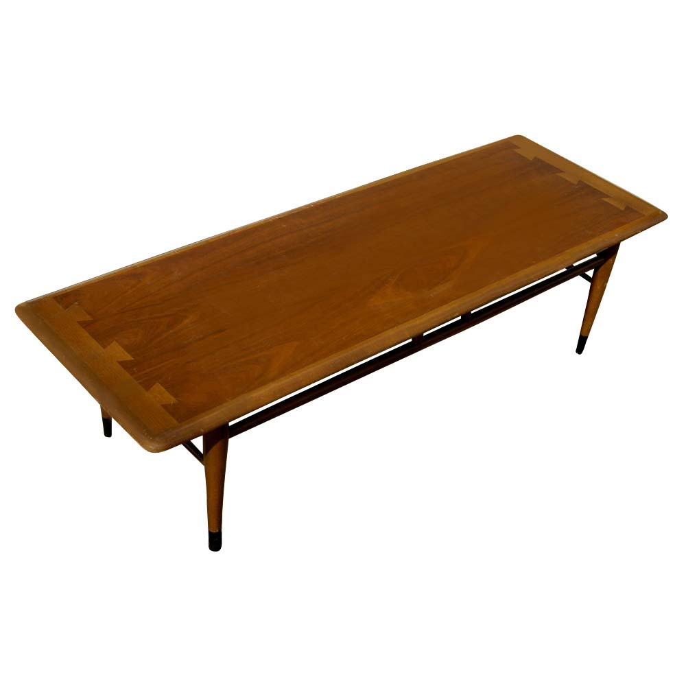 "54"" Mid Century Modern Lane Two Tone Low Coffee Table"