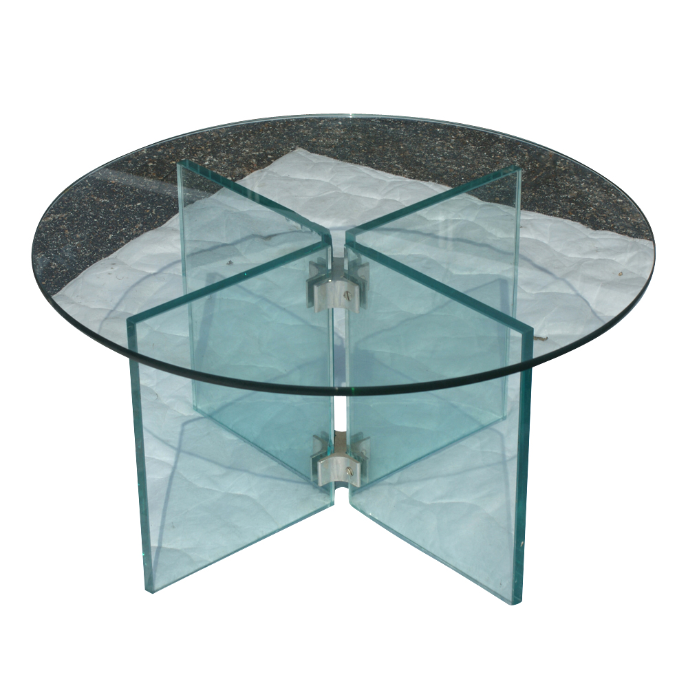 "25"" Diam Mid Century Modern Glass Coffee Table"