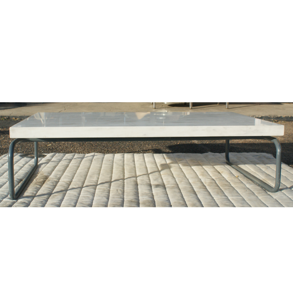 Marble Coffee Table Houston: Vintage Cassina Marble Coffee Table Tubular Base