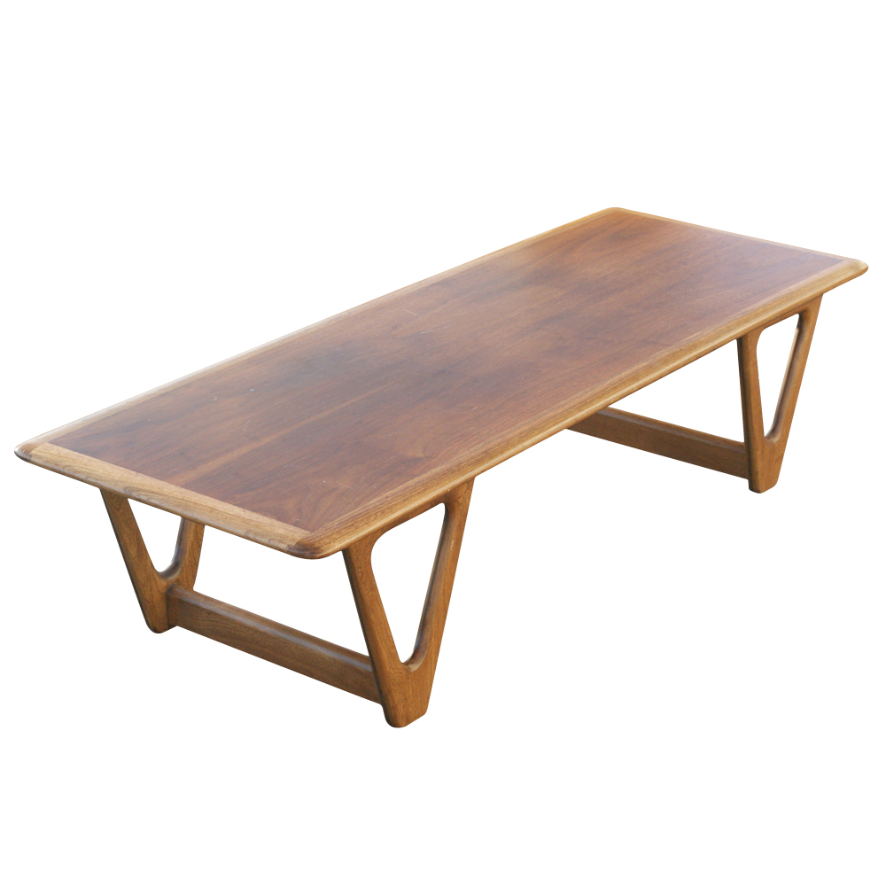 Vintage danish coffee table walnut two tone finish ebay - Modern coffee table ...