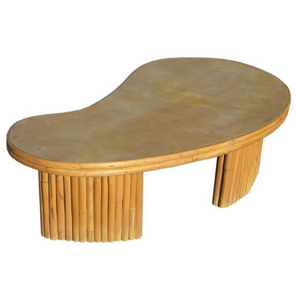 Mid Century Modern Bamboo Coffee Table Features Kidney